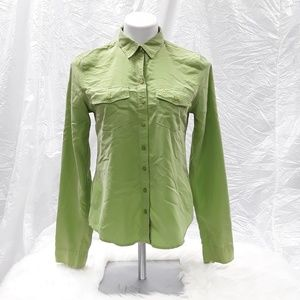 A&F green long sleeved button up blouse top sz M